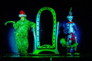 """Shuler Hensley as The Grinch and Aleksa Kurbalija as Max in """"Dr. Seuss' How The Grinch Stole Christmas! The Musical,"""" running Nov. 20-29 at The Chicago Theatre. Photo by Bruce Oglesby-Bluemoon Studios."""