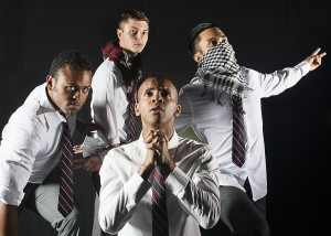 James Arthur M., Adam Odsess-Rubin, Mike Sagun, and Taj Campbell in NCTC's production of SHAKESPEARE'S R&J. Photo by Lois Tema.