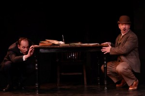 James Sparling (left) and Adam Bitterman in City Lit Theater's HOLMES AND WATSON, playing through December 14 - photo by Tom McGrath.