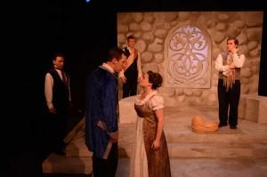 John Walski & Peter Ash as Lords, John Arthur Lewis as Leontes, Megan DeLay as Paulina, and Brendan Hutt as Antigonus in Promethean Theatre Ensemble's THE WINTER'S TALE. Photo by Tom McGrath.