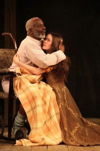 Joseph Marcell as Lear and Bethan Culinane as Cordelia in the Globe on Tour production of KING LEAR. Photo by Ellie Kurttz.