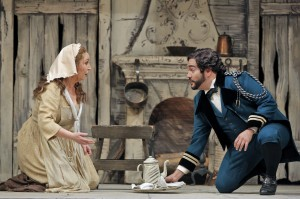 Karine Deshayes (Angelina) and René Barbera (Don Ramiro) in San Francisco Opera's LA CENERENTOLA. Photo by Cory Weaver.