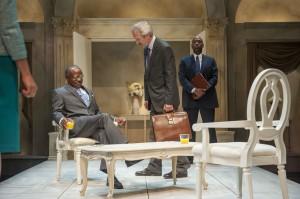 L. Peter Callender, Dan Hiatt, and Adrian Roberts in Aurora Theatre Company's West Coast Premiere of Breakfast with Mugabe..