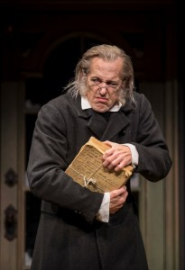 Larry Yando (Ebenezer Scrooge) in Goodman Theatre's A CHRISTMAS CAROL. Photo by Liz Lauren.