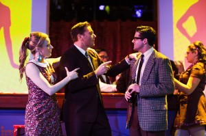 Leah Shesky, Steven Shear, and Jeffrey Brian Adams in San Francisco Playhouse's production of PROMISES, PROMISES. Photo by Jessica Palopoli.