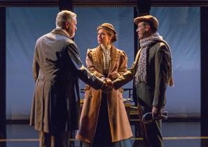 Dan Daily (Andrew Undershaft), Hannah Cabell (Barbara Undershaft), and Richard  Gallagher (Adolphus Cusins) in Pearl Theatre's MAJOR BARBARA. Photo by Richard Termine.