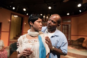 "Sarah and David Bradley (AnJi White and Robert Hardaway), an African-American couple vacationing in Africa, try to resolve their differences in Eclipse Theatre's production of ""Mud, River, Stone"" by Lynn Nottage, directed by Andrea J. Dymond."