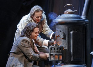 San Francisco Opera's La Boheme starring Michael Fabiano (Rodolfo) and Alexey Markov (Marcello). Photo by Cory Weaver.