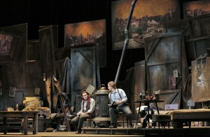 San Francisco Opera's La Boheme. Michael Fabiano (Rodolfo) and Alexey Markov (Marcello). Photo by Cory Weaver.