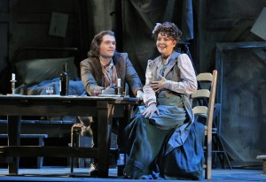 San Francisco Opera's La Boheme. Michael Fabiano (Rodolfo) and Alexia Voulgaridou (Mimi). Photo by Cory Weaver.