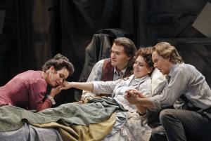 San Francisco Opera's La Boheme. Nadine Sierra (Musetta), Michael Fabiano (Rodolfo), Alexia Voulgaridou (Mimi) and Alexey Markov (Marcello). Photo by Cory Weaver.