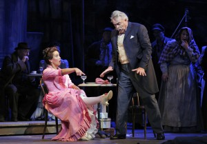 San Francisco Opera's La Boheme. Nadine Sierra (Musetta)and Dale Travis (Alcindoro). Photo by Cory Weaver.
