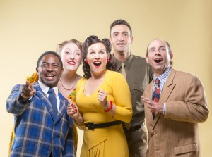 "AeJay Mitchell, Heather Orth, Dyan McBride, Tyler McKenna, and Brian Herndon sing ""There's a Happy Land in the Sky"" in 42nd Street Moon's production of Something for the Boys, playing November 26 - December 14, 2014 at The Eureka Theatre"
