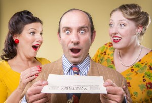 Dyan McBride, Brian Herndon, and Heather Orth, get some good news in 42nd Street Moon's production of Something for the Boys, playing November 26 - December 14, 2014 at The Eureka Theatre