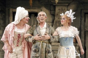 Zanda Švēde (Tisbe), Carlos Chausson (Don Magnifico), and Maria Valdes (Clorinda) in San Francisco Opera's LA CENERENTOLA. Photo by Cory Weaver.