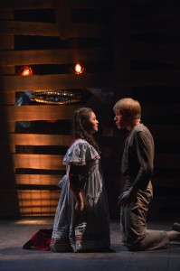 Adrienne Walters as Molly and Tim Homsley as Peter in the TheatreWorks production of PETER AND THE STARCATCHER playing December 3, 2014 - January 3, 2015 at the Lucie Stern Theatre in Palo Alto. Photo by Keven Berne.