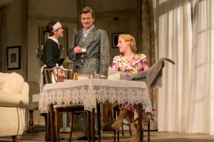"""Susan Louise O'Connor, Charles Edwards and Charlotte Parry in the North American tour of Noël Coward's """"Blithe Spirit."""""""