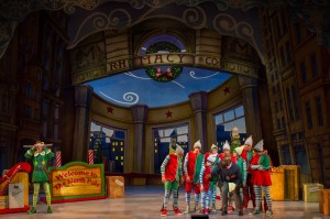 Buddy (Eric Williams), Store Manager (Jerrial T. Young) and the Company of ELF THE MUSICAL. Photo by Amy Boyle.