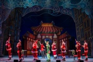 Buddy (Eric Williams) and the Fake Santas in ELF THE MUSICAL. Photo by Amy Boyle.