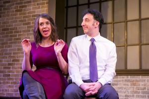 Chelsea Devantez and Daniel Strauss in Second City's PANIC ON CLOUD 9. Photo by TODD ROSENBERG.