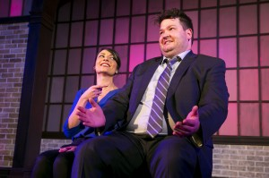 Christine Tawfik and Paul Jurewicz in Second City's PANIC ON CLOUD 9. Photo by TODD ROSENBERG.