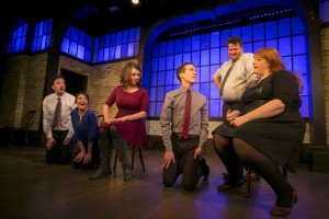 Daniel Strauss, Christine Tawfik, Chelsea Devantez, John Hartman, Paul Jurewicz and Emily Walker in Second City's PANIC ON CLOUD 9. Photo by TODD ROSENBERG.