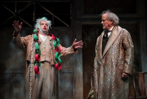 (L to R) Peter Gwinn (Jacob Marley) and Francis Guinan (Scrooge) in The Second City's Twist Your Dickens, Or Scrooge You! by Peter Gwinn and Bobby Mort at Goodman Theatre - photo by Liz Lauren.