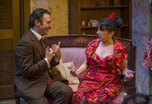 Nic Grelli and Eileen Niccolai in Shattered Globe Theatre's production of THE ROSE TATTOO by Tennessee Williams, directed by Greg Vinkler.  Photo by Michael Brosilow.