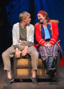 Peter (Tim Homsley) and Black Stache (Patrick Kelly Jones) have a heart to heart in the TheatreWorks production of PETER AND THE STARCATCHER playing December 3, 2014 - January 3, 2015 at the Lucie Stern Theatre in Palo Alto. Photo by Keven Berne.