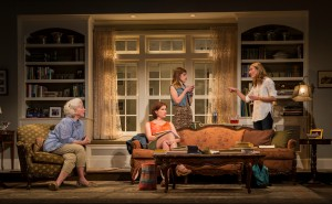Mary Ann Thebus (Alice Croll), Karen Janes Woditsch (Gwen Harper), Cassidy Slaughter-Mason (Avery Willard) and Jennifer Coombs (Catherine Croll) in Gina Gionfriddo's Rapture, Blister, Burn, directed by Kimberly Senior at Goodman Theatre. Photo by Liz Lauren.