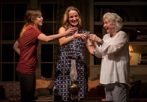Cassidy Slaughter-Mason (Avery Willard), Jennifer Coombs (Catherine Croll) and Mary Ann Thebus (Alice Croll) in Gina Gionfriddo's Rapture, Blister, Burn, directed by Kimberly Senior at Goodman Theatre. Photo by Liz Lauren.
