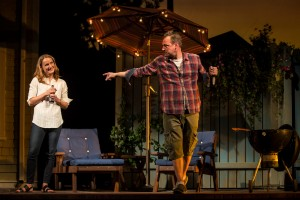 Jennifer Coombs (Catherine Croll) and Mark Montgomery (Don Harper) in Gina Gionfriddo's Rapture, Blister, Burn, directed by Kimberly Senior at Goodman Theatre. Photo by Liz Lauren.