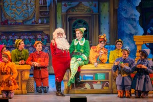 Santa (Ken Clement), Buddy (Eric Williams) and the Company of ELF THE MUSICAL. Photo by Amy Boyle.