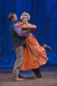 Slank (Will Springhorn Jr.) catches Mrs. Bumbrake (Ron Campbell) in the TheatreWorks production of PETER AND THE STARCATCHER playing December 3, 2014 - January 3, 2015 at the Lucie Stern Theatre in Palo Alto. Photo by Keven Berne.