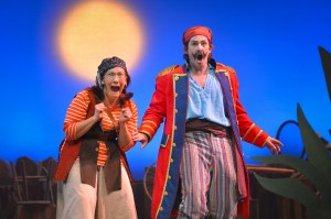 Smee (Suzanne Grodner) and Black Stache (Patrick Kelly Jones) are astonished in the TheatreWorks production of PETER AND THE STARCATCHER playing December 3, 2014 - January 3, 2015 at the Lucie Stern Theatre in Palo Alto. Photo by Keven Berne.