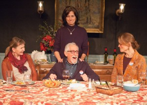 Sisters Jane Apple Halls (Mechelle Moe, from left), Barbara Apple (Janet Ulrich Brooks) and Marian Apple Platt (Juliet Hart) are unsuccessful in helping their uncle Benjamin Apple (Mike Nussbaum, center) remember a past family outing in TimeLine Theatre's Chicago premiere of That Hopey Changey Thing, Part 1 of Richard Nelson's The Apple Family Plays, directed by Louis Contey, presented on an alternating schedule with Part 3, Sorry, at 615 W. Wellington Ave., Chicago, January 13 - April 19, 2015. Photo by Lara Goetsch.