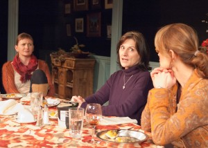 Barbara Apple (Janet Ulrich Brooks, center) shares her concerns about the current state of American politics with her sisters Jane Apple Halls (Mechelle Moe, left) and Marian Apple Platt (Juliet Hart, right), in TimeLine Theatre's Chicago premiere of That Hopey Changey Thing, Part 1 of Richard Nelson's The Apple Family Plays, directed by Louis Contey, presented on an alternating schedule with Part 3, Sorry, at 615 W. Wellington Ave., Chicago, January 13 - April 19, 2015. Photo by Lara Goetsch.
