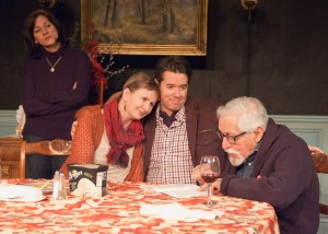 Barbara Apple (Janet Ulrich Brooks, from left), along with Jane Apple Halls (Mechelle Moe) and her boyfriend Tim Andrews (PJ Powers), love hearing Benjamin Apple (Mike Nussbaum) revisit one of one of his past acting roles in TimeLine Theatre's Chicago premiere of That Hopey Changey Thing, Part 1 of Richard Nelson's The Apple Family Plays, directed by Louis Contey, presented on an alternating schedule with Part 3, Sorry, at 615 W. Wellington Ave., Chicago, January 13 - April 19, 2015. Photo by Lara Goetsch.