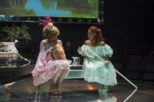 Ensemble member Alana Arenas (Marie Antoinette) with Ericka Ratcliff (Yolande De Polignac) in Steppenwolf Theatre Company's production of Marie Antoinette