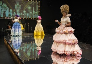 Ericka Ratcliff (Yolande De Polignac), Tamberla Perry (Therese De Lamballe) and ensemble member Alana Arenas (Marie Antoinette) in Steppenwolf Theatre Company's production of Marie Antoinette