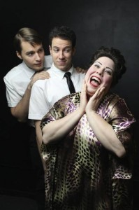 Sam Button-Harrison, left, Dan Gold and Libby Lane star in the world premiere of The Book of Merman for Pride Films and Plays at Mary's Attic in Chicago