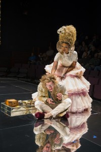 Tim Hopper (Louis XVI) and Alana Arenas (Marie Antoinette) in Steppenwolf Theatre Company's production of Marie Antoinette