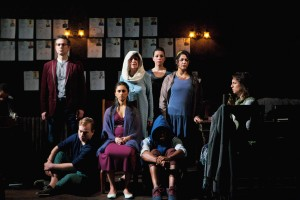 David Prete, Nate Whelden, Anu Bhatt, Lona Livingston, Paloma Nozicka, David Guy, Maritza Cervantes and Eleni Pappageorge in Sideshow Theatre Company's production of ANTIGONICK, a re-imagining of the Greek tragedy Antigone by Sophokles, freely translated by Anne Carson and directed by artistic director Jonathan L. Green. Photo by Jonathan L. Green.