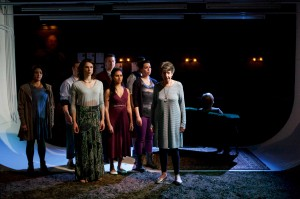Maritza Cervantes, Nate Whelden, Eleni Pappageorge, David Prete, Anu Bhatt, David Guy, Paloma Nozicka, Lona Livingston and Ann James in Sideshow Theatre Company's production of ANTIGONICK, a re-imagining of the Greek tragedy Antigone by Sophokles, freely translated by Anne Carson and directed by artistic director Jonathan L. Green. Photo by Jonathan L. Green.