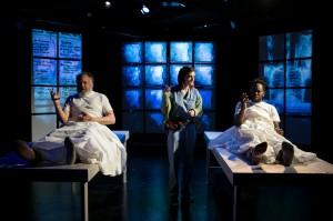 Arch Harmon, Abby Pierce and Mykele Callicut in Cold Basement Dramatics' production of HEAT WAVE. Photo by Anna Sodziak.