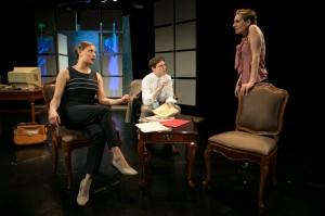 Carmen Molina, Zach Livingston and Emily Grayson in Cold Basement Dramatics' production of HEAT WAVE. Photo by Anna Sodziak.
