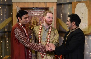 Kaiser Ahmed, Riley McIlveen and Kamal J. Hans star in Rasaka Theatre's A Nice Indian Boy at Victory Gardens Theater
