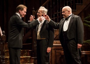 (L to R) Michael Canavan (William Marshall), Larry Yando (Ben Hubbard) and Steve Pickering (Oscar Hubbard) in The Little Foxes by Lillian Hellman, directed by Henry Wishcamper at Goodman Theatre (May 2 – June 7, 2015).