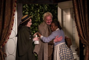 """(L to R) Rae Gray (Alexandra """"Zan"""" Giddens), John Judd (Horace Giddens) and Cherene Snow (Addie) in The Little Foxes by Lillian Hellman, directed by Henry Wishcamper at Goodman Theatre (May 2 – June 7, 2015)."""