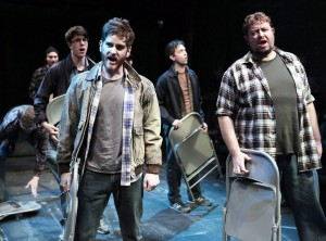 (front, left to right) Garrett Lutz and Scott Danielson with (back, left to right) Jake Morissy, Matt Frye, George Toles and Greg Foster in Kokandy's Productions' THE FULL MONTY with music and lyrics by David Yazbek, book by Terrence McNally, directed by John D. Glover, choreography by Danny Spagnuolo and music direction by Kory Danielson. Credit: Joshua Albanese Photography.